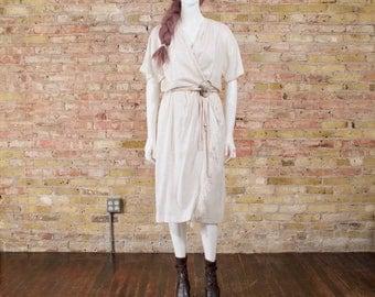 cream woven dress / full skirt midi dress / slouchy dress / boho dress / fringe hem dress / statement belt / sheer dress / knit dress