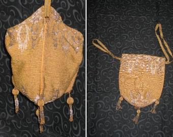 Micro Beaded Purse / ANTIQUE EARLY 1900s Micro Bead Bag Purse Handbag-Reticule-Gold/Silver Vintage Handbag