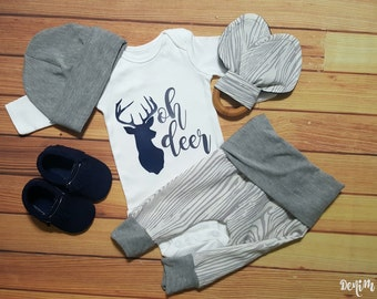 """Baby Boy Gray and Wood Deer """"Oh Deer"""" Onesie Gift Set Newborn Baby Boy Coming Home Outfit *2 Purchasing Options*"""