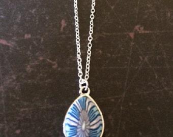 Blue Necklace - Blue Jewelry - Blue Pendant - Blue Pendant Necklace - Ethnic Jewelry - Ethnic Necklace - Enamel Jewelry - Enamel Necklace