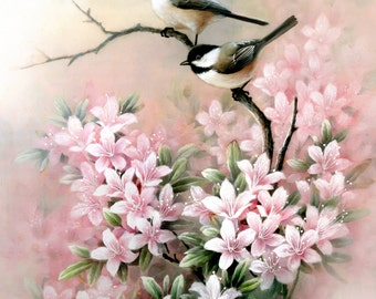 Chickadee and Flowers, Archival Print of Watercolor Painting