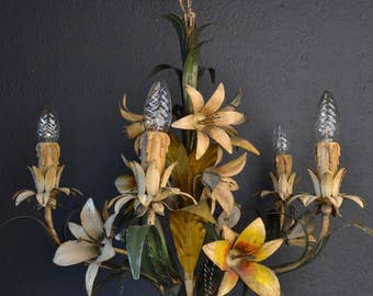 Beautiful old tole Flower Chandelier with metal flowers