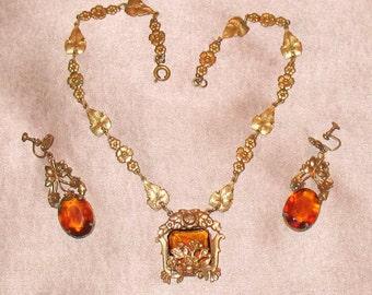 1920s Art Deco Earrings and Necklace Set, Nouveau Honey-Colored Necklace Set, 1930s Czech Jewelry Set, Antique Czech Glass Necklace