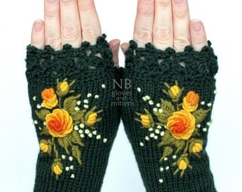 Knitted Fingerless Gloves, Roses, Green, Yellow, Orange, Gloves & Mittens, Gift Ideas, For Her,  Accessories