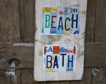 Beach Bath Sign, Anniversary License Plate Sign, License Plate Sign, License Plate Art, Wedding Gift, 10th Anniv gift, Vacation Decor