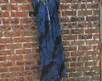 Grunge Asymmetric Blue Rose Velour Dress