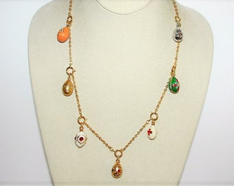 Joan Rivers Egg Charm Necklace  -  21 Inches with 7 Eggs