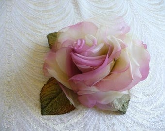 Ivory Raspberry Pink Silk Rose Millinery with Leaves for Hats, Gowns, Corsage, Fascinators, Weddings