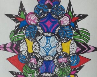 Original marker drawing - multicolor