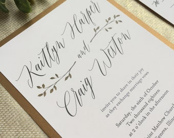 Laurel Wedding Invitation, Plum Wedding Invitations, Burgundy and Gold Wedding Invitations, Wedding Invitation Suite