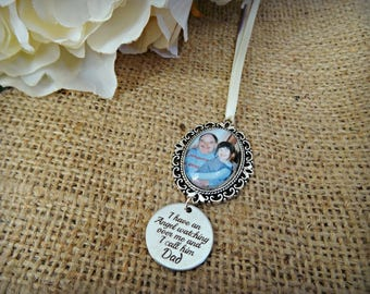 Bouquet Photo Charm with 'I have an angel watching over me, I call him Dad' Charm