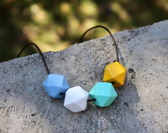 Geometric Wood Necklace // Mint Mustard Faceted Wooden Bead Necklace // Hand Painted// Hedron Necklace - Blue, White, Mint, Mustard