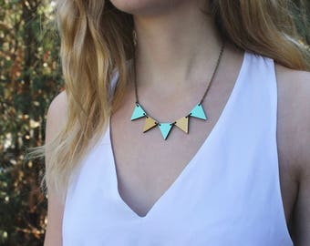 Pennant Wood Necklace // Mint and Gold Bunting Necklace // Reversible // Wood Necklace // Geometric Statement Bib