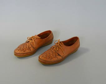 1980s DEXTER woven leather lace up oxfords- size 7