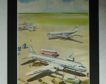 1950s Vintage Aviation Print, Retro Airplane Decor, Available Framed, Aeroplane Art, British Airways Picture, Scandinavian Airlines BOAC Art
