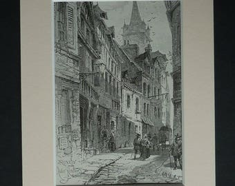 1880s Antique Herbert Railton Print, Street Picture, Available Framed, Rouen Art Normandy France Decor Old French Gift Historic Architecture