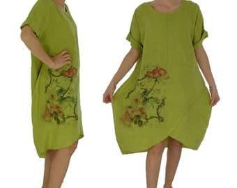 HV900OL ladies dress linen balloon dress oversize tunic vintage size M / L kiwi