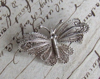 Vintage French Silver Filigree Butterfly Brooch Pin, 800 silver