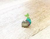 Pusheen Purrmaid Acrylic Fashion Pin, Tie Tack Mermaid Pin, Pusheen Gift, Lapel Pin, Merkitty Tack Pin
