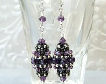 Victorian Earrings Purple Dangle Earrings Glass Earrings Handmade Edwardian Jewelry Elegant Earrings Sterling Silver Unique Gifts for Women