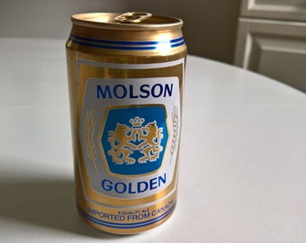 Vintage Molson Golden Beer Can --- Retro Pub Tavern Bar Home Decor Cool Curio --- 1970's Classic Style Canadian Beverage Stocking Stuffer