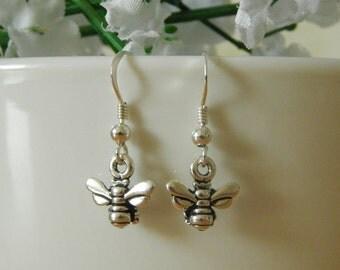 Sterling Silver Honey Bee Earrings, Silver Bee Earrings, Honey Bee Drop Earrings, Bee Dangle Earrings, Earrings