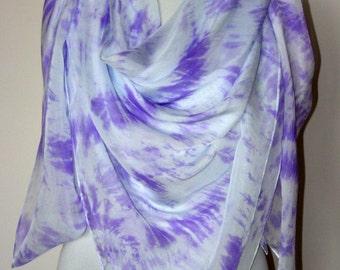Hand dyed silk scarf Purple square scarf Chiffon summer silk wrap Pale lilac pure silk scarf Evening shawl wrap Hand painted silk shawl