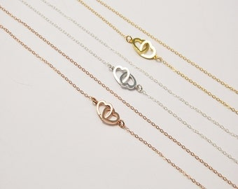 Tiny hearts necklace - Small heart necklace -  gold, silver, rose gold - Gift for her - Mom necklace - Dainty gold heart necklace
