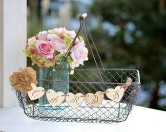 Rustic Wedding Card Basket Country Cards Holder Shabby Chic Reception Decor Bridal