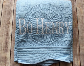 Monogrammed Baby Quilt, Baby Boy Quilt, Baby Name Quilt, Baby Blanket, Monogrammed Gift, Christening Gift, Baptism Gift, Baby Shower Gift