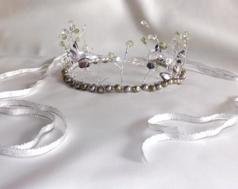 Bridal Tiara Woodland Wedding Crown Bridal Headpiece Elven Crown Elven Tiara Woodland Elf Circlet