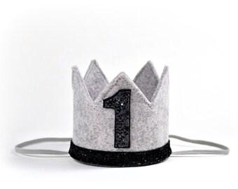 First Birthday Boy Crown || Boy Birthday Hat || Boy Cake Smash || Heather Grey + Black