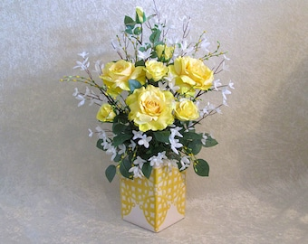 Yellow Roses Silk Flower Arrangement, Yellow Roses and White Forsythia, Spring Silk Floral Arrangement, Home Decor, House Warming Gift