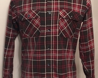 Vintage MENS Fieldmaster black, red & white plaid flannel shirt, size M, made in U.S.A.