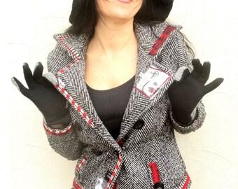M- Herringbone jacket with lining  pop art appliqued recycled street hippie boho