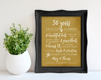 50th Anniversary Gift for parents, 50th GOLDEN Anniversary print, Anniversary gift for parents from kids  8 x 10 poster print