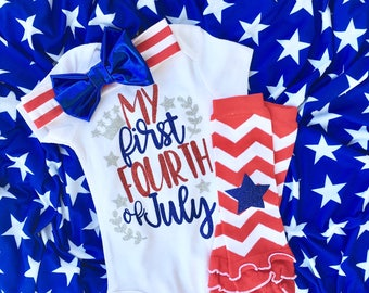 My first 4th of july girls, fourth of july baby girl, 4th of july baby headband, July 4th Baby, baby fourth of july outfit