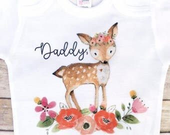 ON SALE Father's Day gift from daughter, love you dearly, first fathers day, fathers day gift, Woodland Animals, Baby Fawn Shirt