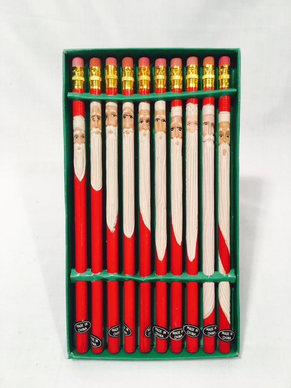 Hand carved santa pencil christmas stocking stuffers
