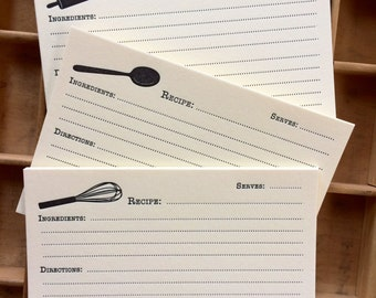 Set of 15 Letterpress Recipe Cards: whisk, spoon, rolling pin