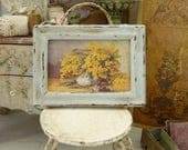 Miniature shabby distressed wooden frame painted sky blue, Vase of Mimosa, Accessory for a French dollhouse in 1:12th scale
