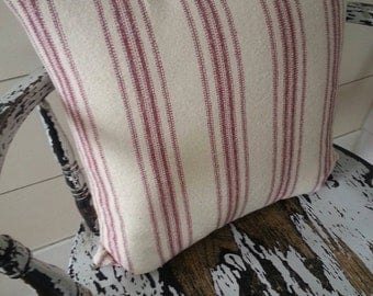 Pillow Cover/Cream Grain Sack Fabric/Burgundy Stripe/Zipper Closure