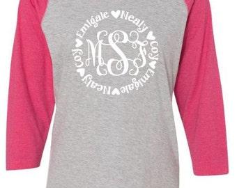 Mother's Day Personalized Monogram Shirt ~ Mothers ~ Moms Or Grandma Monogram w Kids Names Around ~