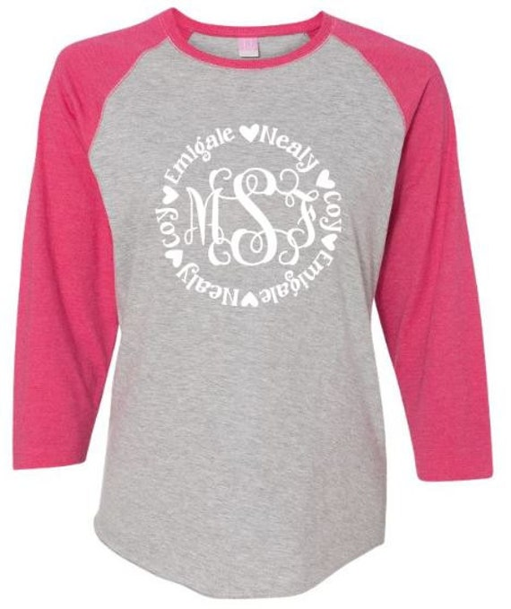 personalized monogram shirt mothers moms or grandma