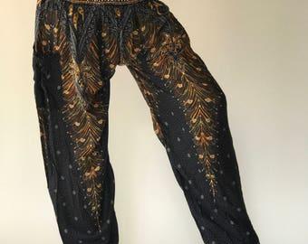 SM0091 Black Aladdin Pants Genie Pants Boho Pants Gypsy Pants Rayon Pants Thai lady pants woman fashion solf and comfy