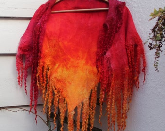 Shawl, hand-dyed wool and silk, fire, curls,