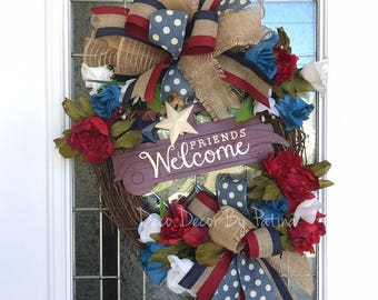 Patriotic Wreath Americana Wreath Memorial Wreath 4th Of