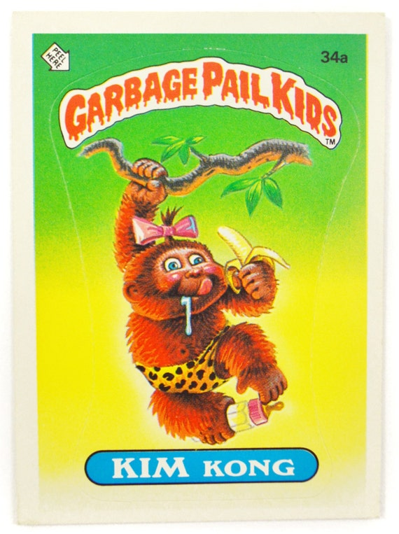Vintage 80s Garbage Pail Kids Kim Kong 34a Series 1 Collectible Sticker Trading Card