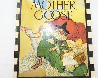 Vintage The Real Mother Goose Nursery Rhymes 1981 Softcover Rand McNally Illustrated by Blanche Fisher Wright