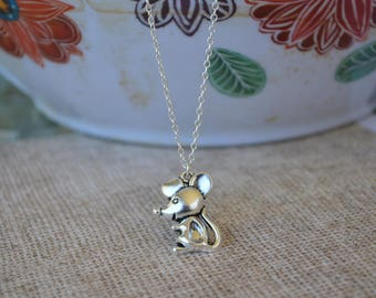 Closeout Item--------- Silver Plated Mouse  Necklace-Baby  Necklace- Necklace,Cute Necklace-